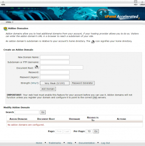 Add-on domain screen
