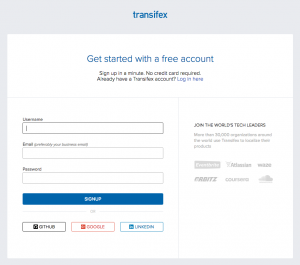 Transifex registration form