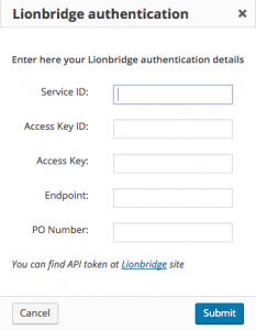 Lionbridge authentication dialog window