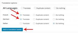 Seleção dos idiomas para os quais você quer traduzir seu conteúdo