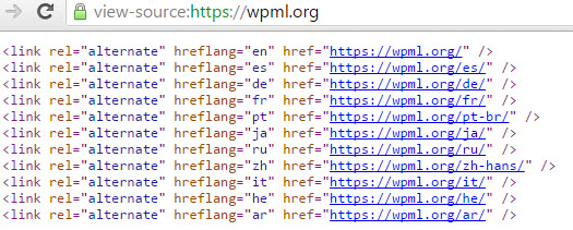 hreflang links in wpml.org