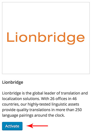 Activation de Lionbridge