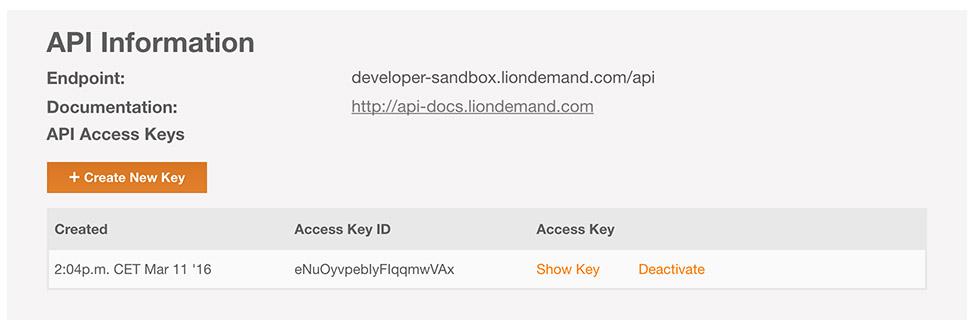API Information on your profile page on Lionbridge