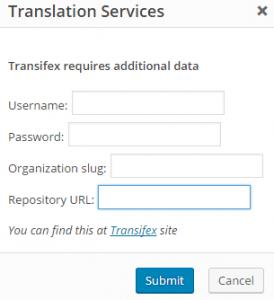 Диалоговое окно авторизации Transifex