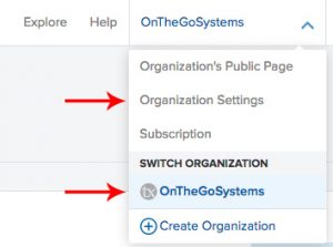 Organization drop-down menu