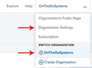 Organization drop-down menu
