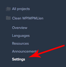 Project settings link