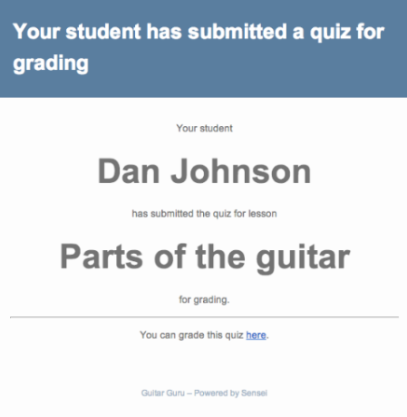 Student submitted quiz