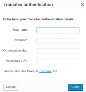 Transifex authentication dialog window