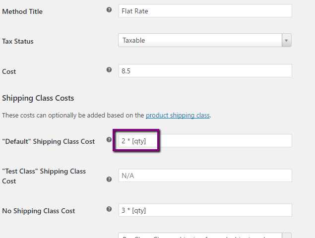 Shortcodes in shipping class costs