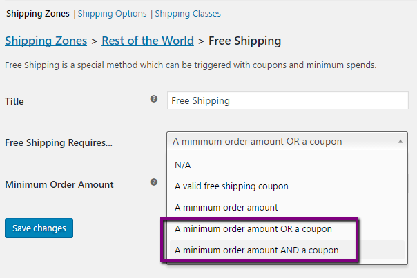 Minimum requirements for Free Shipping