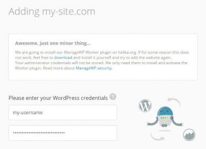 ManageWP Entering Site Login Credentials