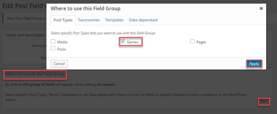 Assgin field group to custom post type game