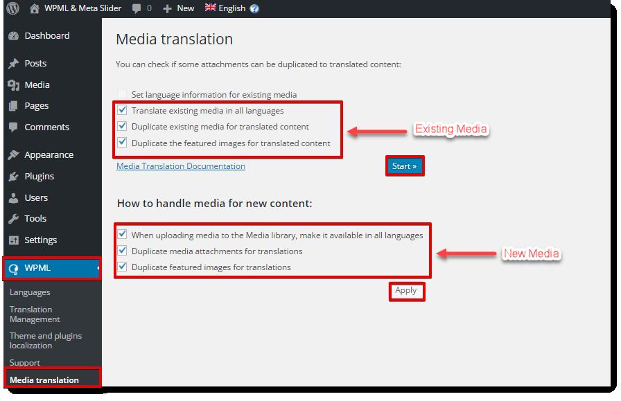 Handeling media translation