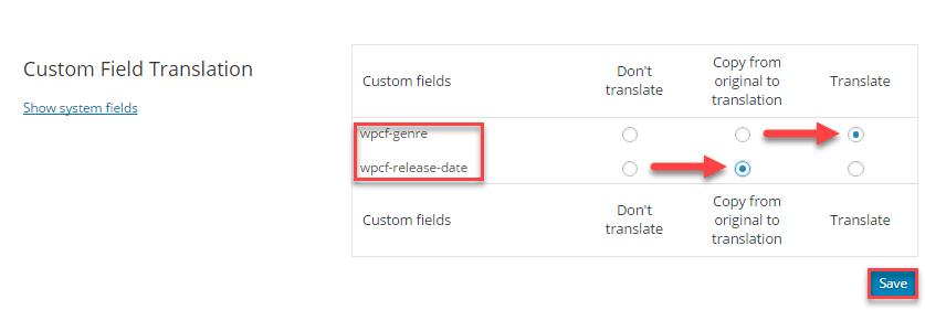 Set custom fields to be translatable
