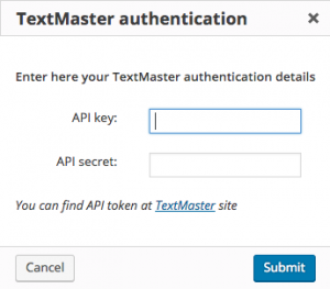 TextMaster authentication dialog window