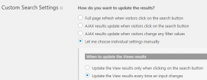 Setting up a View - 2. Select options for that kind of View