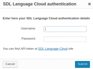 SDL authentication dialog window
