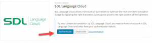Autenticazione di SDL Language Cloud