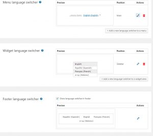 All the previews are shown on the main Languages page, so you can see how all the language switchers in your site look like