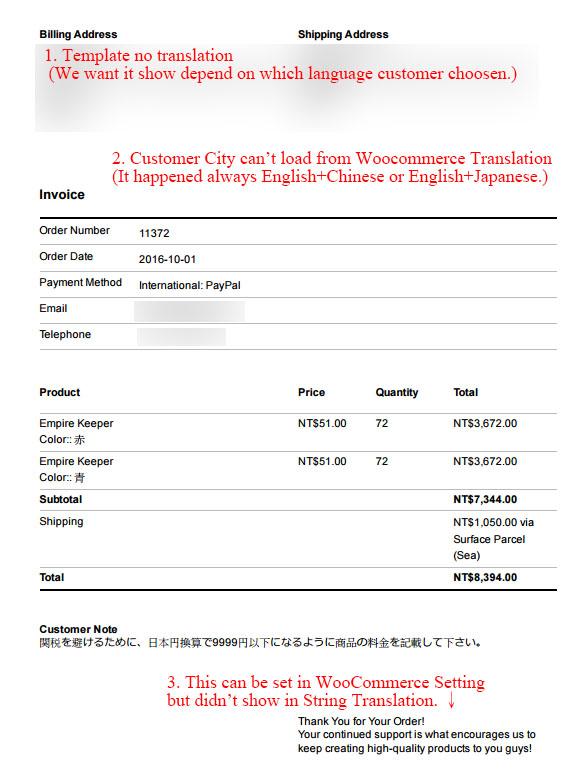 invoice for translation