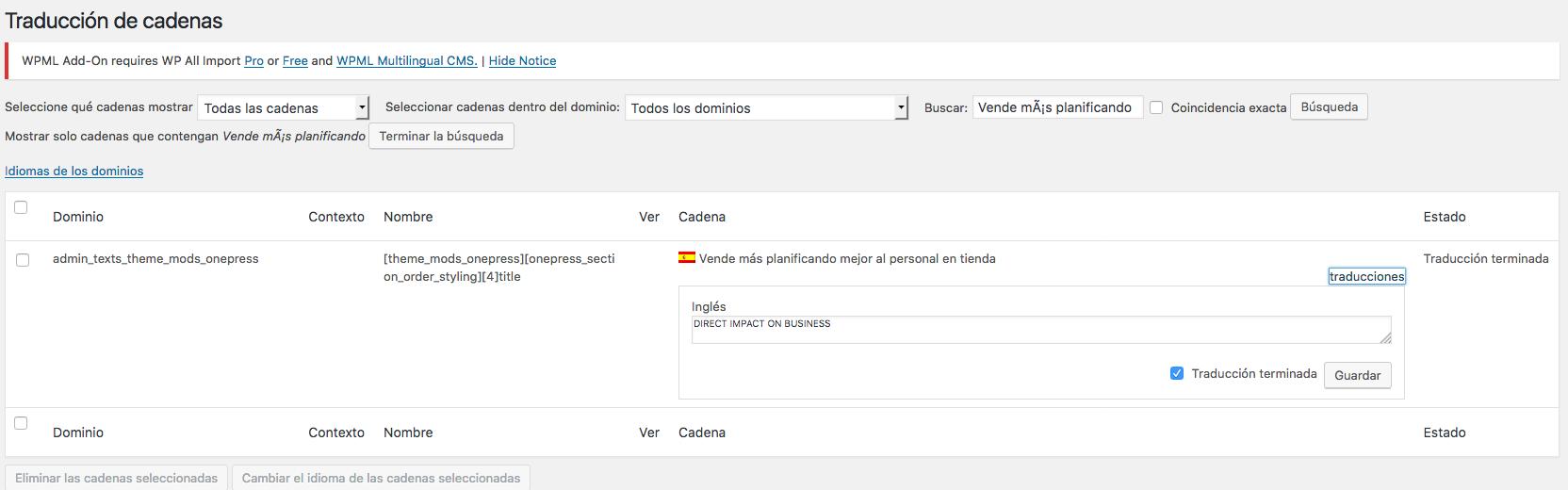 Custom Section de plantilla One Press, no se traduce - WPML