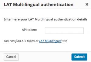 LAT Multilingual authentication dialog window