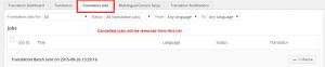 I lavori annullati verranno rimossi dalla scheda Translation Jobs (Lavori di traduzione)