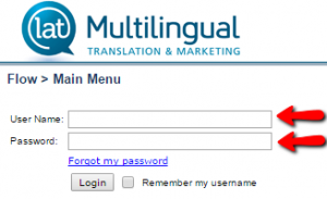 Página de login do LAT Multilingual