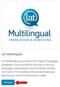Ativação do LAT Multilingual