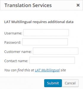 Caixa de diálogo de autenticação do LAT Multilingual