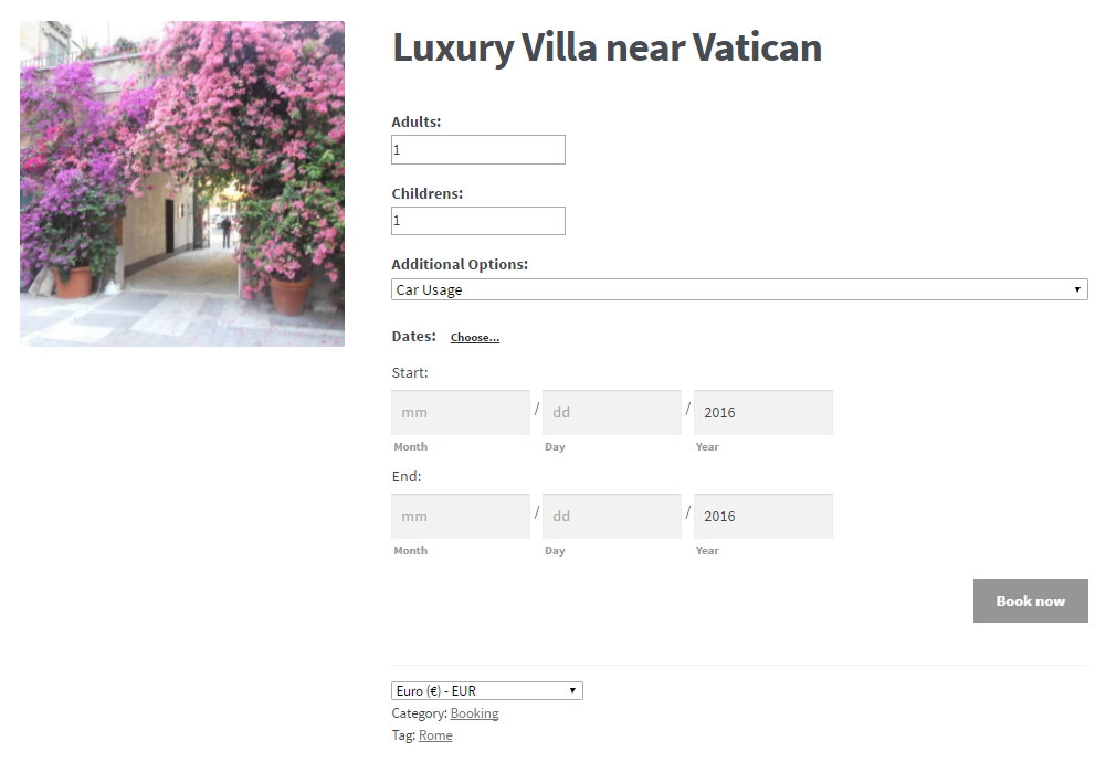 Example of a bookable product created with WooCommerce Bookings