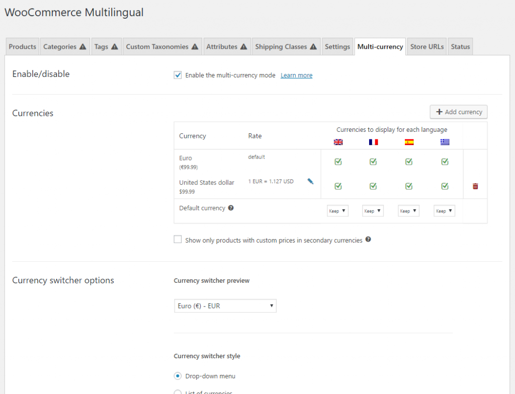 Multi-currency settings page in WooCommerce Multilingual
