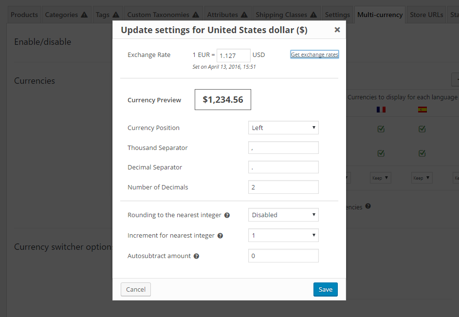 Dialog to set up options for a specific currency