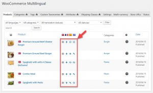 WooCommerce Multilingual main page where products are listed
