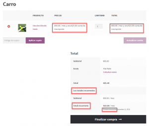 Translated subscription-related strings on the Cart page