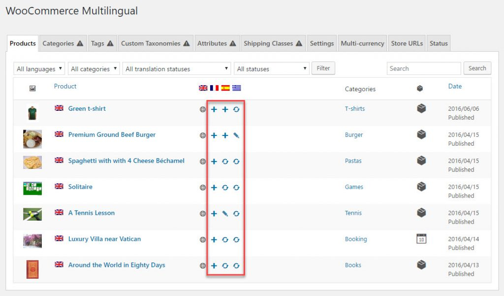 List of products on the WooCommerce Multilingual Products page