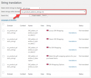 Selecting the product add-ons string domain