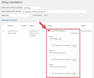 Translating a product add-on string