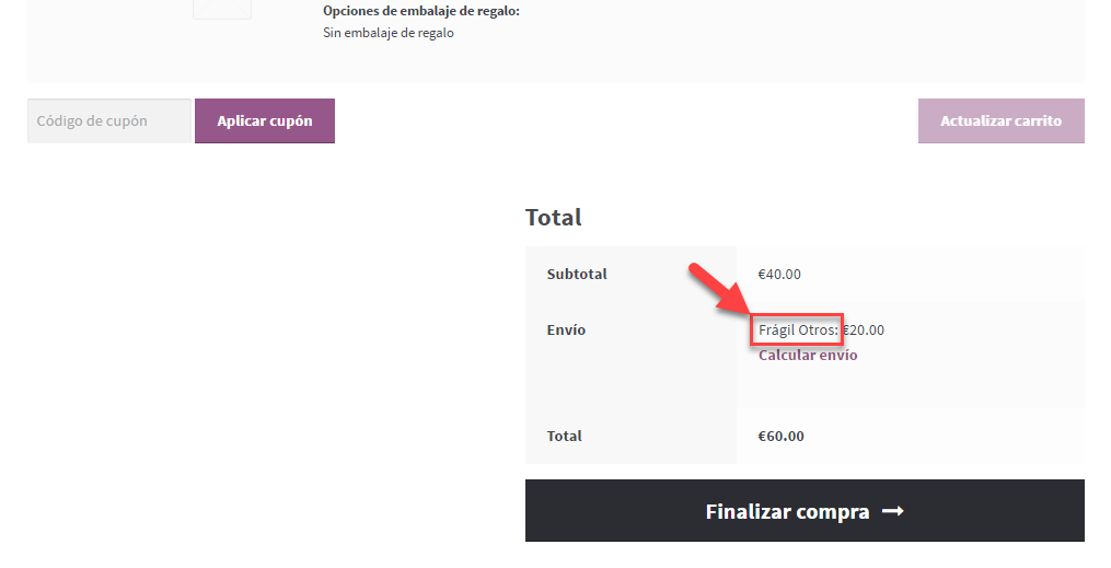 Front-end example of translated string related table rate shipping