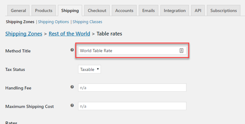 Table rate method title