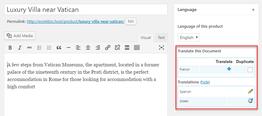 Translating a product using the standard WooCommerce product editor