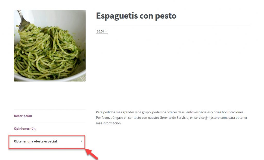 Translated global tab on a store's front-end