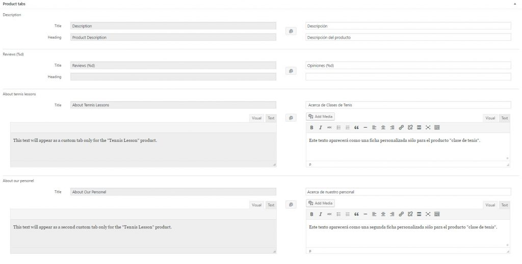 Translating product tabs on the product translation editing page