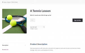 Subscription for tennis lessons
