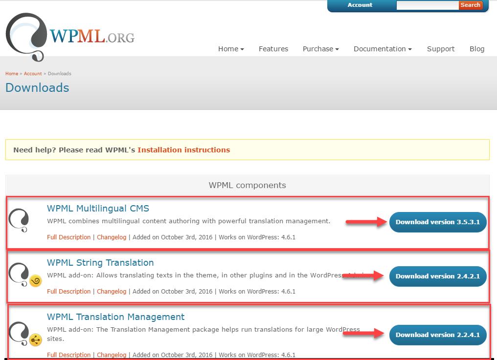 Страница загрузок WPML