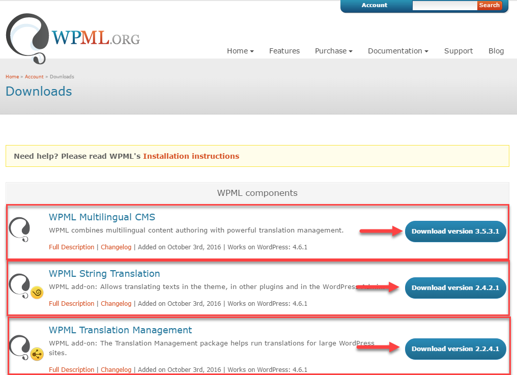 Página de downloads do WPML