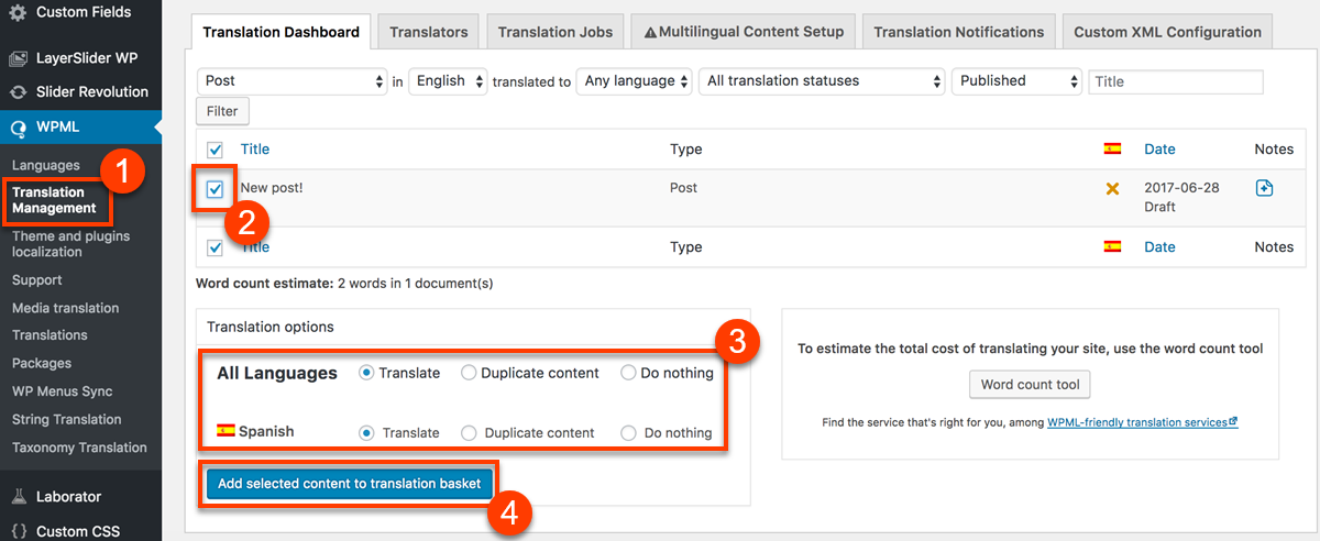 Using WPML to translate pages built with WPBakery Page Builder