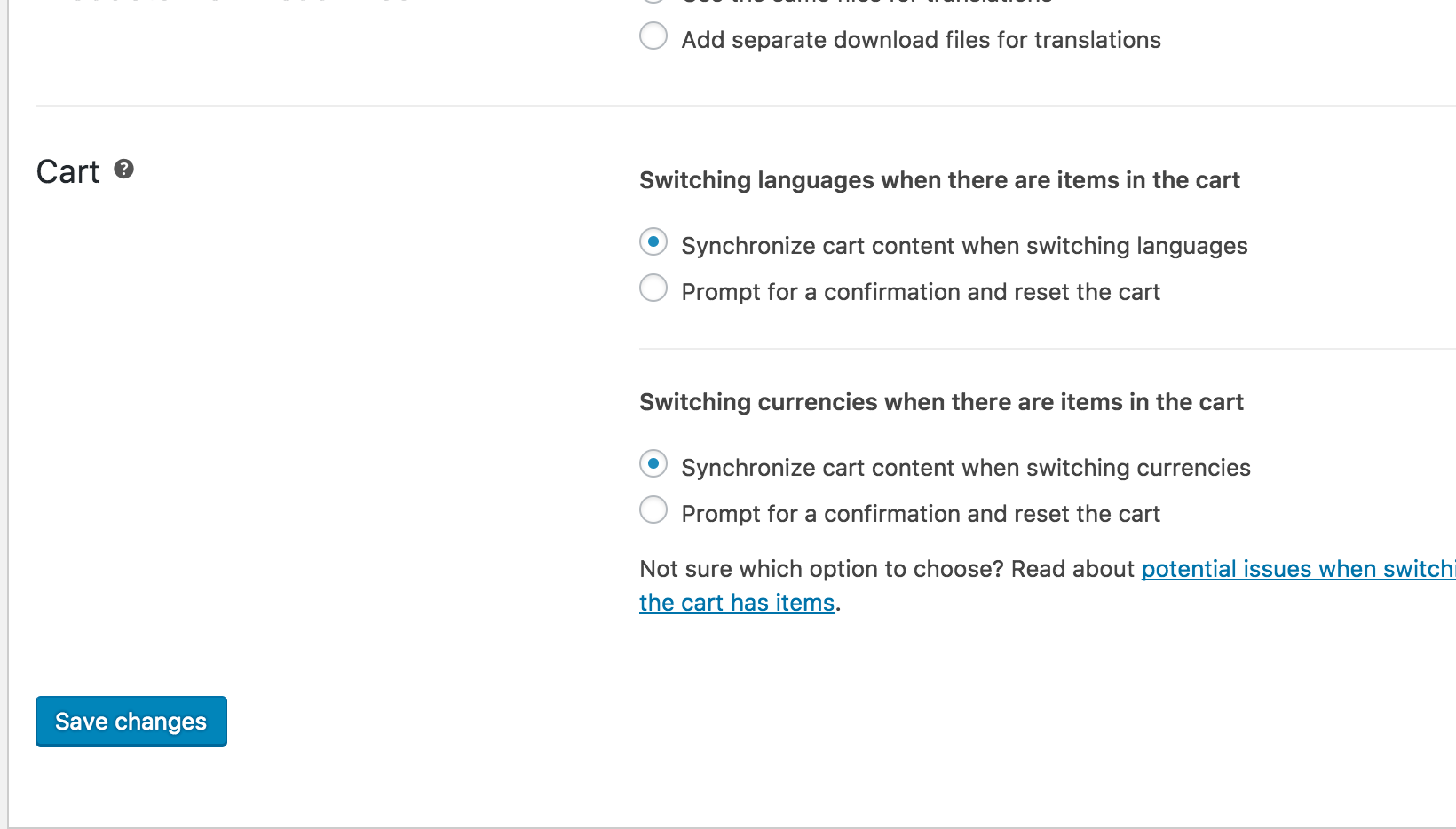 The new options to reset the cart when switching languages or currencies in WooCommerce Multilingual 4.0