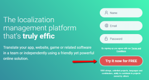 Registration button on the homepage